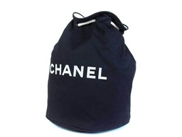 Authentic CHANEL Black Cotton Canvas Drawstring Backpack Bag CS16529L - £145.92 GBP