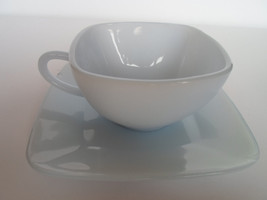 Anchor Hocking Fire King Charm Azure-ite Square Cup and Saucer Blue 1950s - $14.01