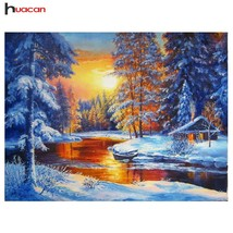 HUACAN 5D Winter Snow Diamond Painting Cross Stitch Kits DIY Diamond Emb... - $49.00