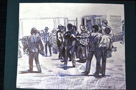"Ink drawing ""Crowd on the Street"" . Signed - $19.70"