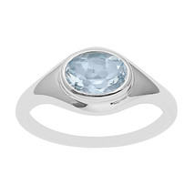 Bezel Set Oval Blue Topaz Cut Solitaire Ring Wedding Anniversary 925 Sil... - $20.78