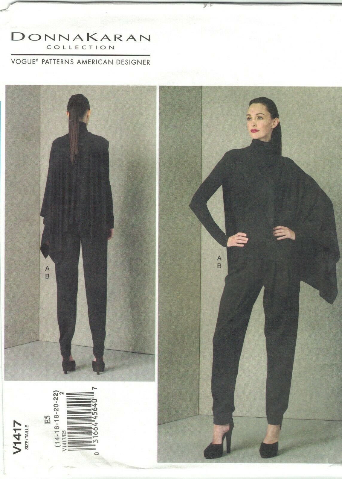 Primary image for Vogue 1417 Donna Karan Half Cape Top and Pants Pattern Size 14 16 18 20 22 Uncut
