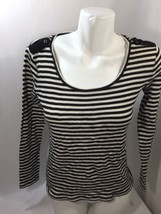 Ann Taylor Women Blouse Striped Black Scoop Neck Cotton Regualr Fit Soft... - $16.82