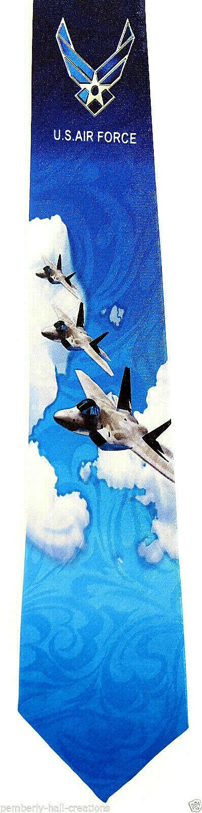 US Air Force Men's Necktie American Military Pilot Airplane Jet Blue Neck Tie
