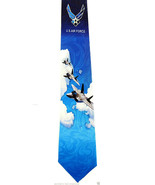 US Air Force Men's Necktie American Military Pilot Airplane Jet Blue Nec... - $15.79