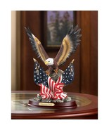 PATRIOTIC BALD EAGLE with American Flag on Wood Base Statue - $30.95