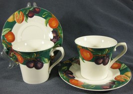 Mikasa Ultima Passion Fruit HK706 Lot of 2 Flat Cup and Saucer Sets Fine... - $14.97