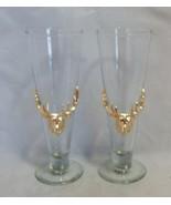 Arthur Court Pilsner Glasses Gold Elk Stag - $23.76