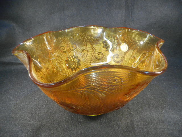Tiara Gold Amber Colored Glass Ruffle Edge Bowl