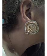 VINTAGE CLIP BUTTON EARRINGS FAUX SIVER ANTIQUE COIN W/ GOLDEN ACCENT RO... - $30.00