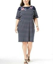 Karen Scott Plus Size 2X,3X Dress Floral Embroidered Striped Shift Dress NEW $54 image 11