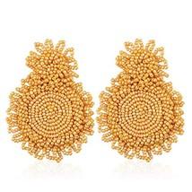 Statement Beaded Earrings Drop Dangle Round Earrings Bohemian for (Yellow) - $13.52