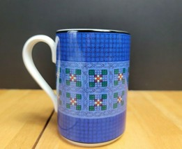 Dansk Nine Patch Mug Cup (1) Quilting Green Purple Patch on Blue - $4.94