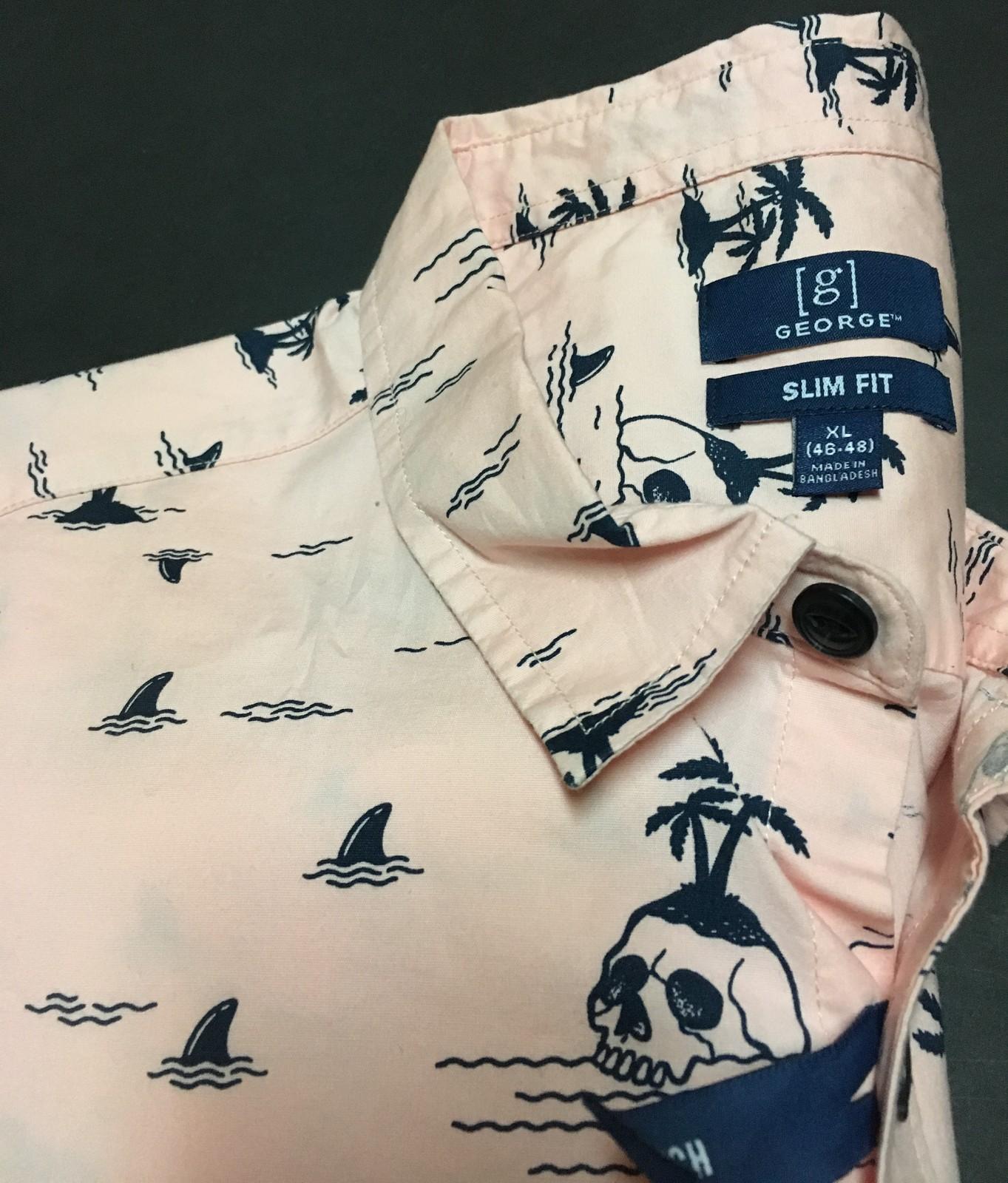 George Men's Tropical Button Down Short Sleeve Shirt Sz Slim Fit XL or L Pink