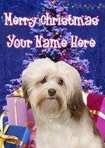 Havanese Dog Merry Christmas Personalised Greeting Card Xmas codeXM205 - $3.93