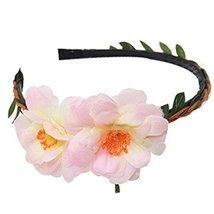 3 Pcs Fashion Peach Pink Woven Cloth Hair Bands Headdress