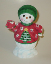 Snowman Tree Sweater Precious Moments Resin Figurine Light Up Music Chri... - $24.74