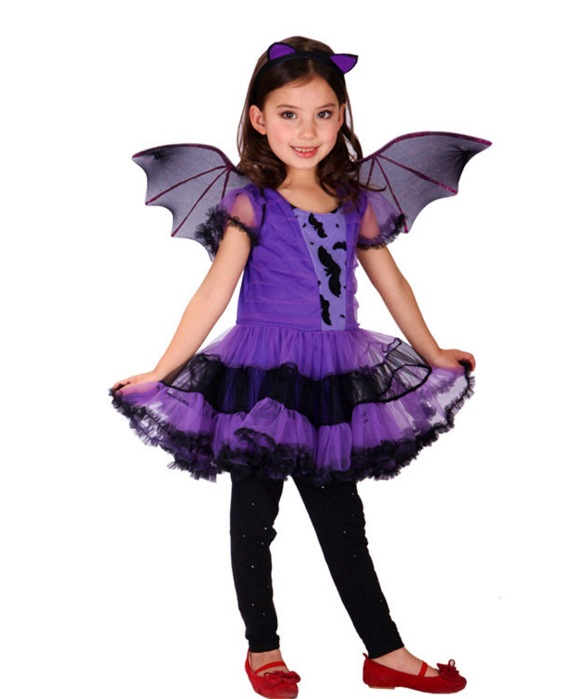 gilrs Masquerade dresses Halloween Party Cosplay clothes kids Costumes with Bat