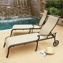 Set of 2 Agio Cast Aluminum and Pfifer Fabric Sling Chaise With Wheels M... - £486.39 GBP