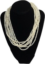 Multi Strand Bridal Pearl Necklace Layered Pearl Choker 14KT Gold FishHo... - $199.99