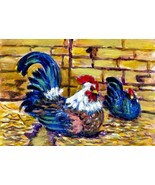 Orig Acrylic Aceo Painting  Rooster & Hen CONYERS ATC - $4.00