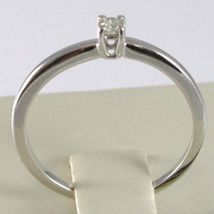 White Gold Ring 750 18k, Solitaire Shank Square with Diamond, Carats 0.07 image 4