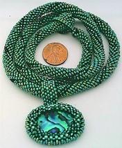 Green Bead Crochet Rope Choker Paua Shell Pendant 5 - $30.00