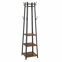 COAT RACK, COAT STAND WITH 3 SHELVES, HALL TREES FREE STANDING WITH HOOK... - $86.61