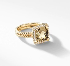 David Yurman Chatelaine Pave Bezel Ring With Champagne Citrine,9mm - $1,880.00