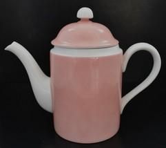 """Fitz & Floyd Rondelet Peach Pink White Teapot Coffee Pot 8.5"""" VTG 1975 - $17.95"""