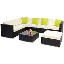Contemporary Garden Wicker Sofa & Table Outdoor Furniture Set Luxury Cor... - $1,160.33