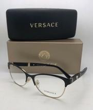 Nuovo Versace Occhiali da Sole MOD.1233-Q 1366 53-17 140 Nero e Oro Cat Eye W/