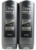 x2 Dove Men+Care Elements Charcoal+Clay Micro Moisture Body And Face Was... - $24.70