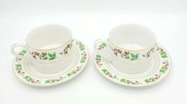 Gibson Housewares China Holly Berries Flat Bottom Coffee / Tea Cups & Saucers - $11.87