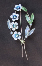 Pin blue enamel on metal flowers rhinestone leaves silver tone vintage b... - $16.00