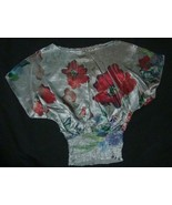 LIPSTICK silver with floral Short Kimono Sleeve sz S NEW - $7.99