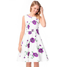 AOVEI Purple Floral Print Refreshing A Line Sweet Pleated Dress With Belt - $24.99