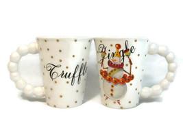 Department 56 Set of 2 Tall Mugs Cups Truffle Jingle Beaded Shaped Handle 16 Oz - $29.04