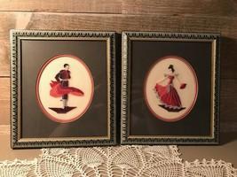 Stitched Needlepoint Framed Matador and Flamenco Dancer Set - $52.15