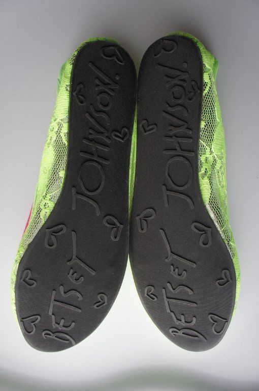 Betsey Johnson Flats Sz S Lime Green Silver Floral Laced Textile Sole Shoes