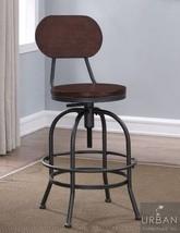 Industrial Bar Stool Adjustable Swivel Metal Wood Kitchen Dining Chair F... - $141.57