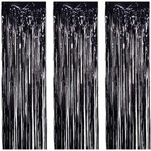 JVIGUE 3 Pack Foil Curtains Metallic Foil Fringe Curtain for Birthday Pa... - £12.15 GBP
