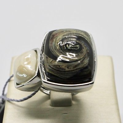 RING ANTIQUE MURRINA VENICE WITH MURANO GLASS BROWN GREEN SAND AN202A10