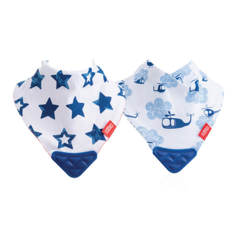Primary image for Nuby Bandana Bib with Teether 2Pk Stars And Helicopters