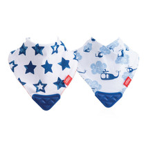 Nuby Bandana Bib with Teether 2Pk Stars And Helicopters - $24.51