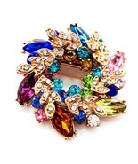 Multicolor Flowers Shape Brooch Pins Chinese Redbud Scarf Buckle Garment... - $10.00