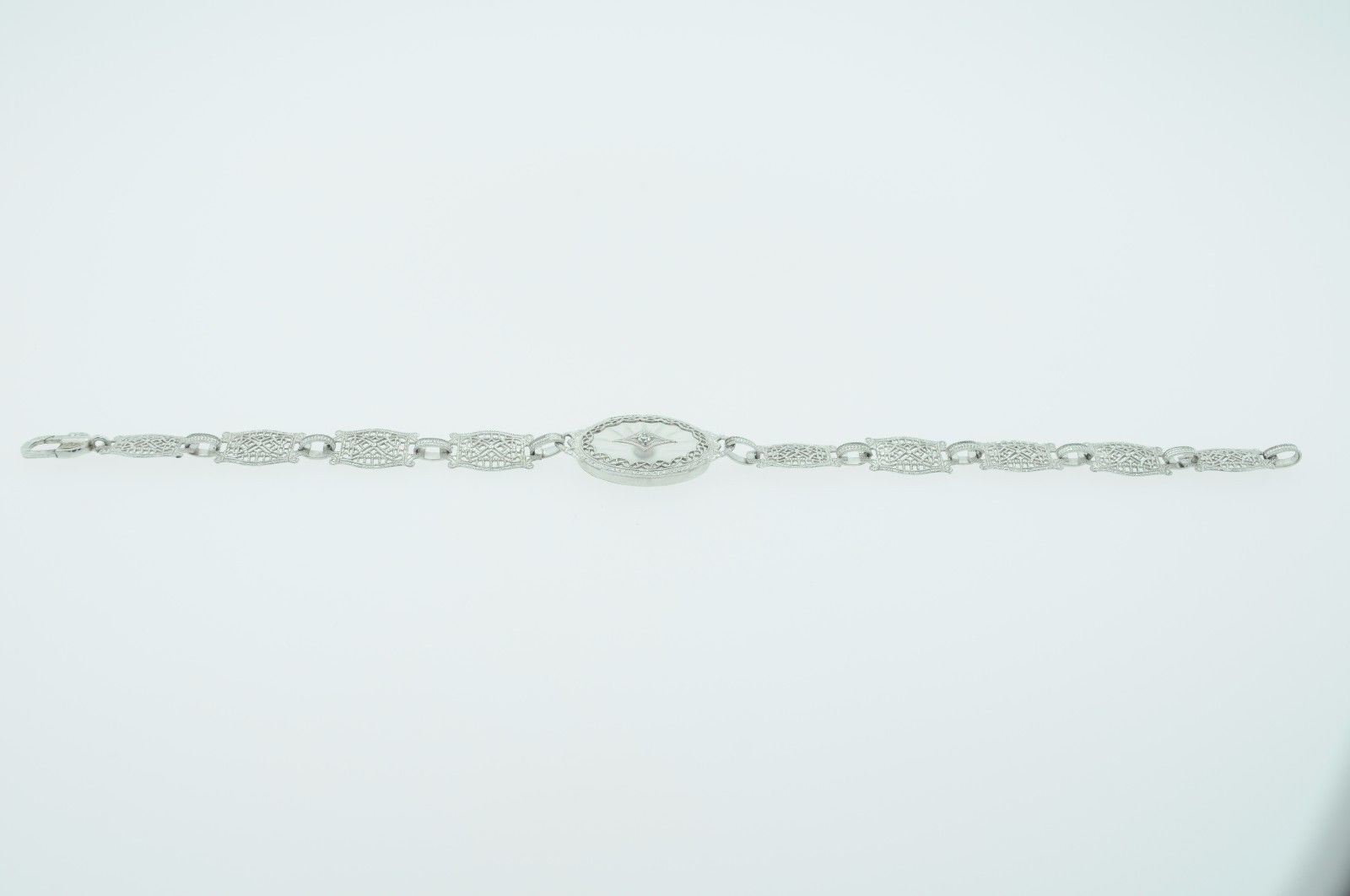 "Art Deco (ca. 1930) 10K White Gold Diamond & Etched Glass Bracelet (6 3/4"") image 11"