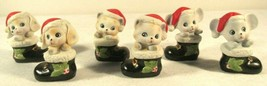 Homco Vtg Christmas 6 Set Lot Cat Dog Mouse In Boot Santa Hat #8903 In Box - $22.75