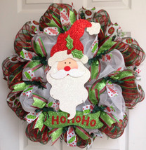 Jolly Ho Ho Ho Santa Christmas Deco Mesh Wreath - $89.99