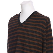 J Crew Merino Wool V-Neck Pullover Sweater Gray Brown Stripe Mens XL - $23.66